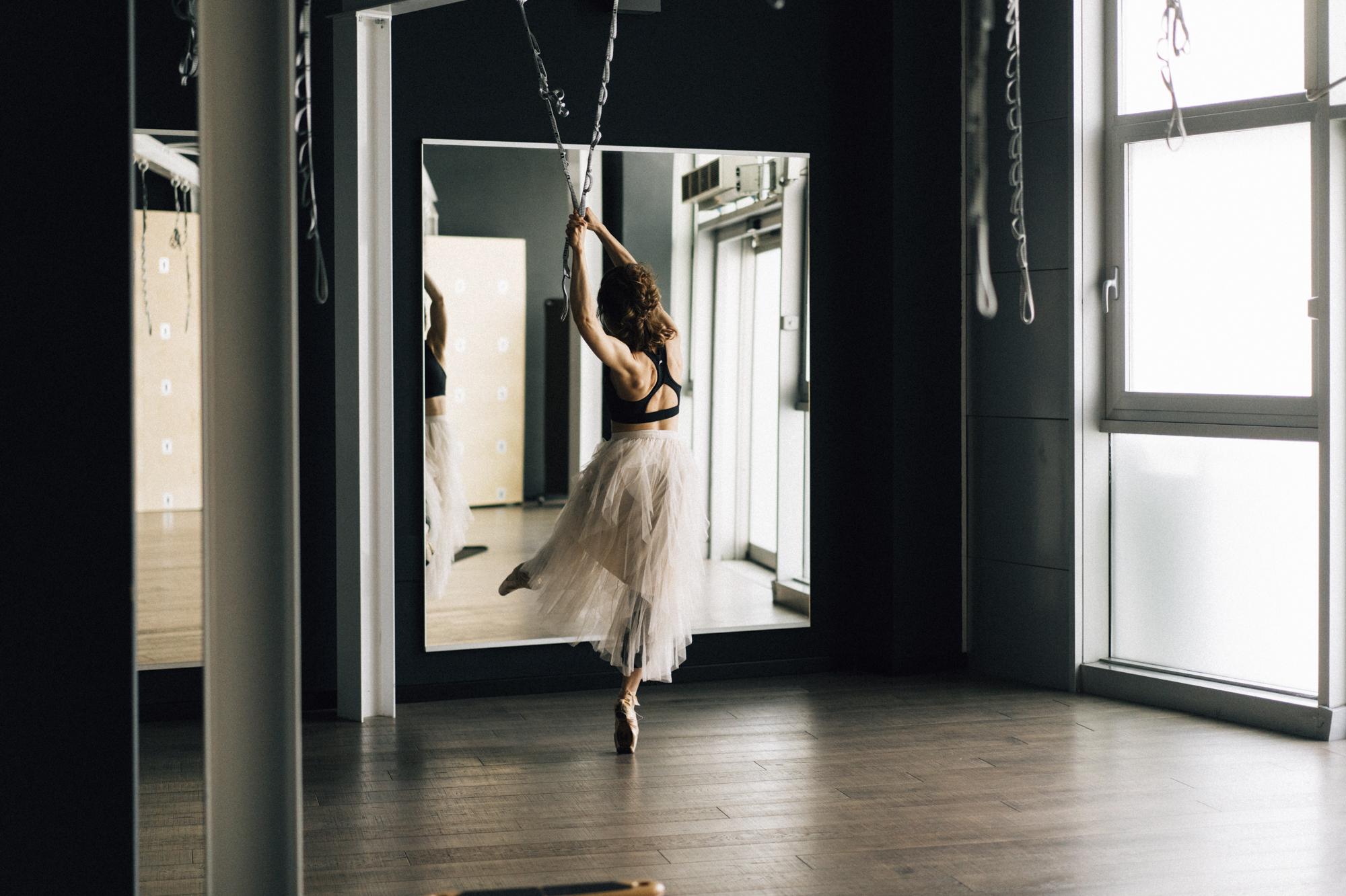 ballerina durante un esercizio